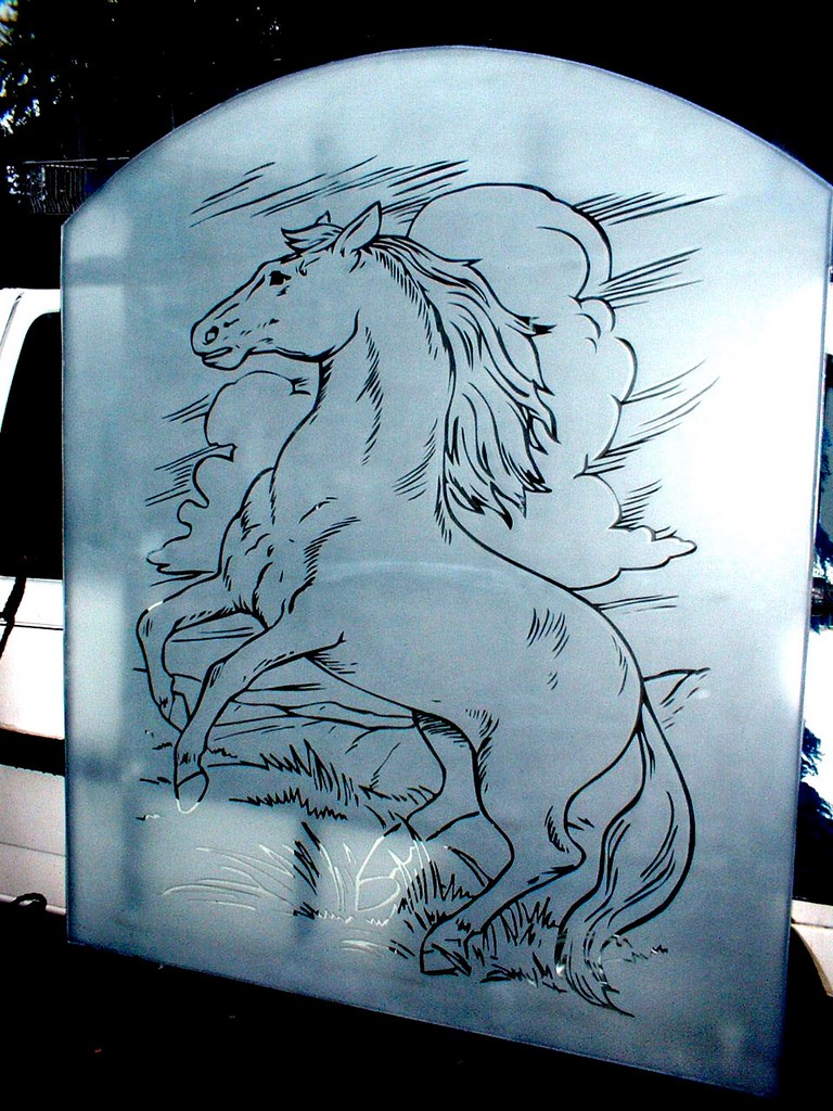 Sandblasted Glass Horse Design
