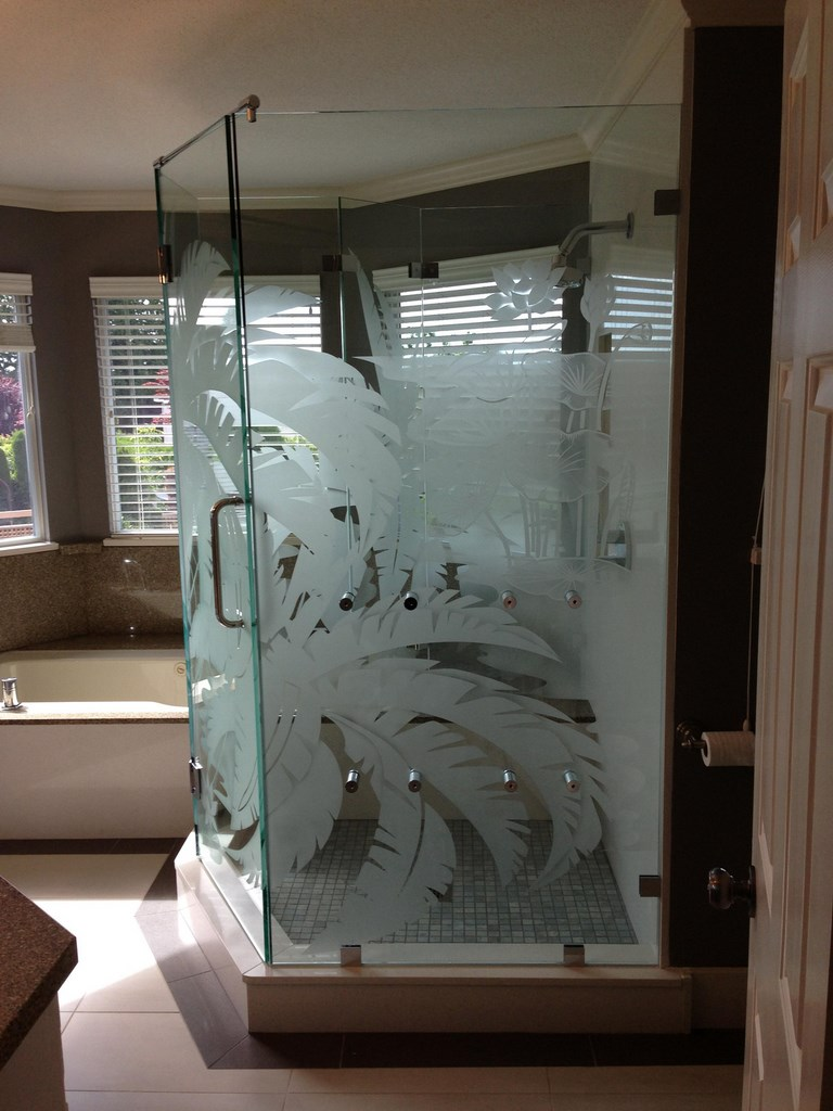 etched Shower glass