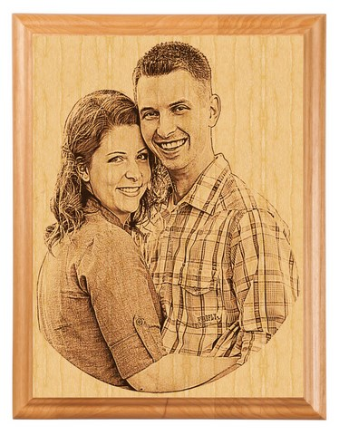 laser etched wood portrait