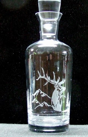 Etched decanter stag design