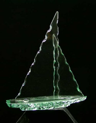 Etched glass award sail boat