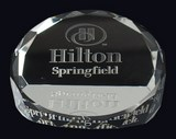 etched crystal paperweight award